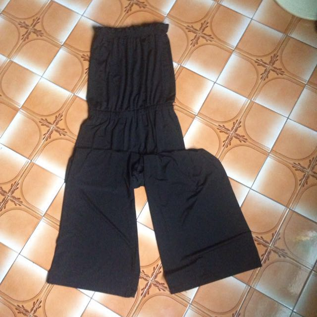 黑色平口連身褲
