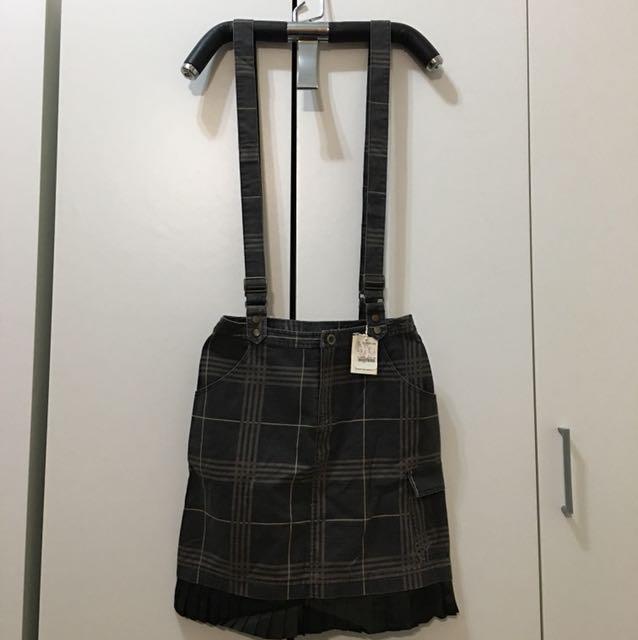 專櫃黑灰色大格吊帶裙
