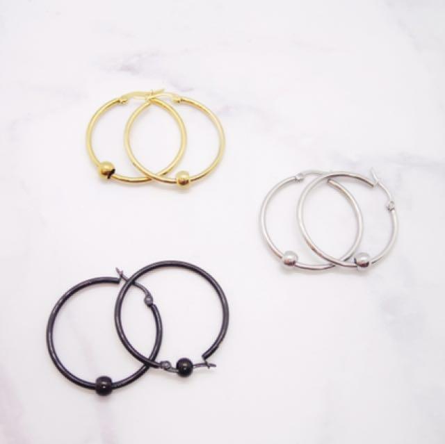 抗敏感醫療鋼個性圓圈耳環
