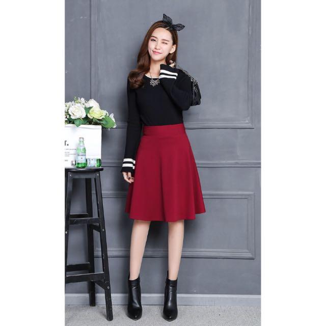韓現貨 紅色質感顯瘦中裙