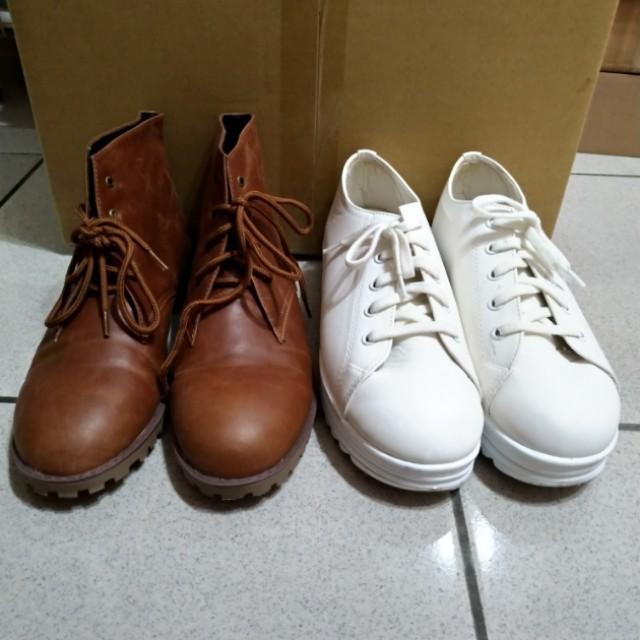 出清 綁帶低跟靴/厚底小白鞋 25號