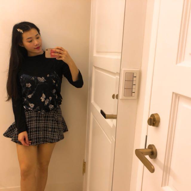 毛呢小香風短裙 購於韓店 990購入