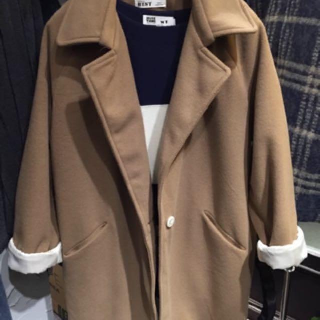 韓國 斜口帶 駝色大衣