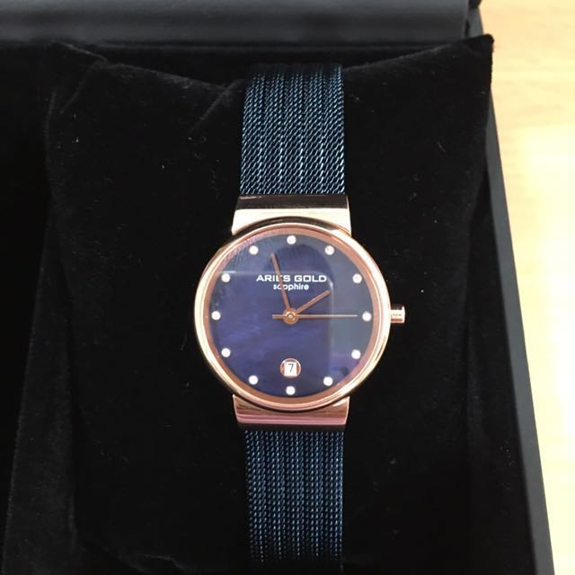 Aries Gold blue pearl watch with Sapphire glass