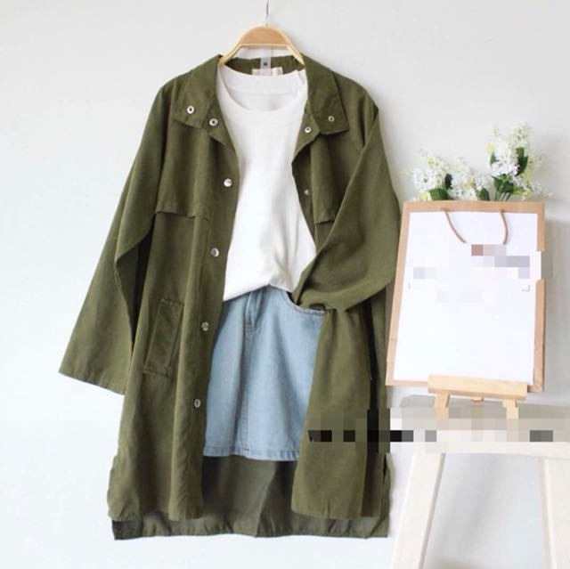 Army green outerwear