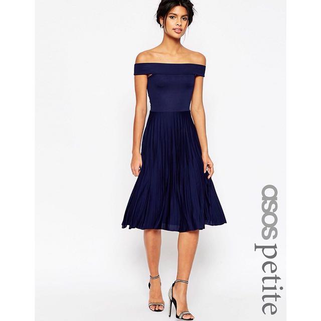 60b212639ff9 ASOS PETITE Off The Shoulder Bardot Pleated Midi Dress