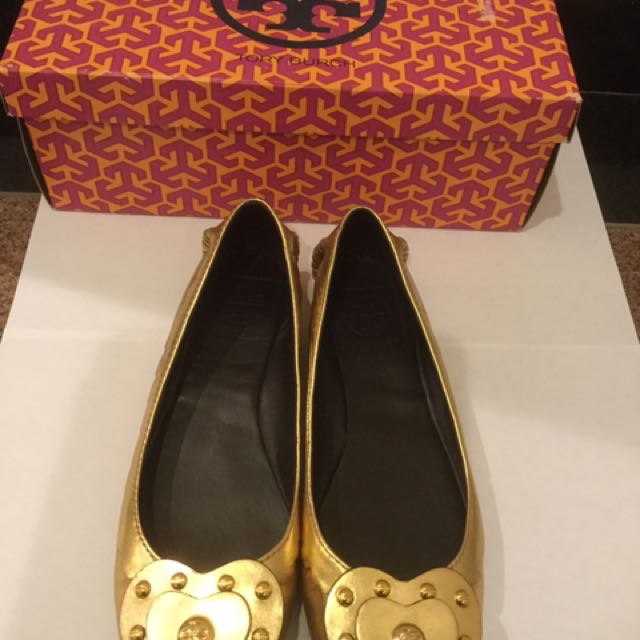 Authentic Tory Burch Gold Leather Flats