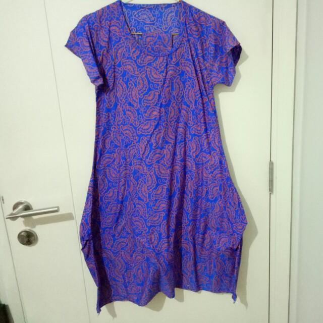 batik dress biru