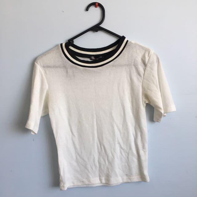 Black and white crew neck top