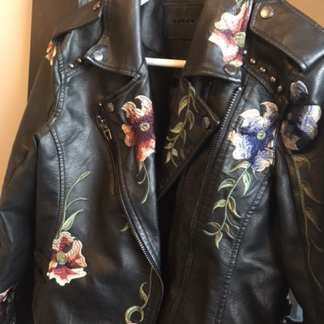 Black Embroidered Vegan Leather Jacket size M
