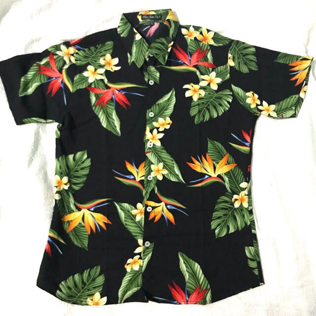 Black Paradise Mens Floral Summer Button Down Polo