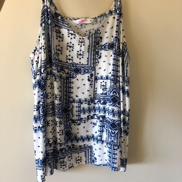 Blue and white singlet top