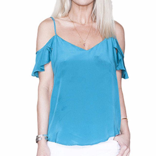 BNWT 100% Silk Off the Shoulder Camisole Top 12 14 Large BRAND NEW Teal Blue