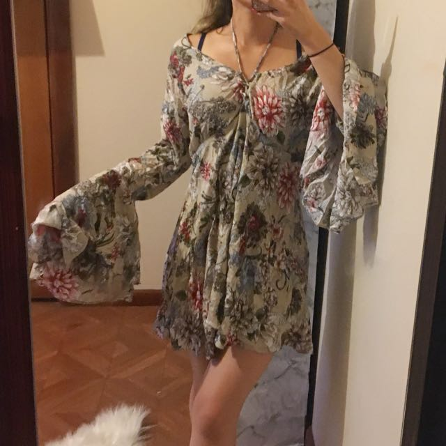 Boho floral size 10 batwing beach cover up dress