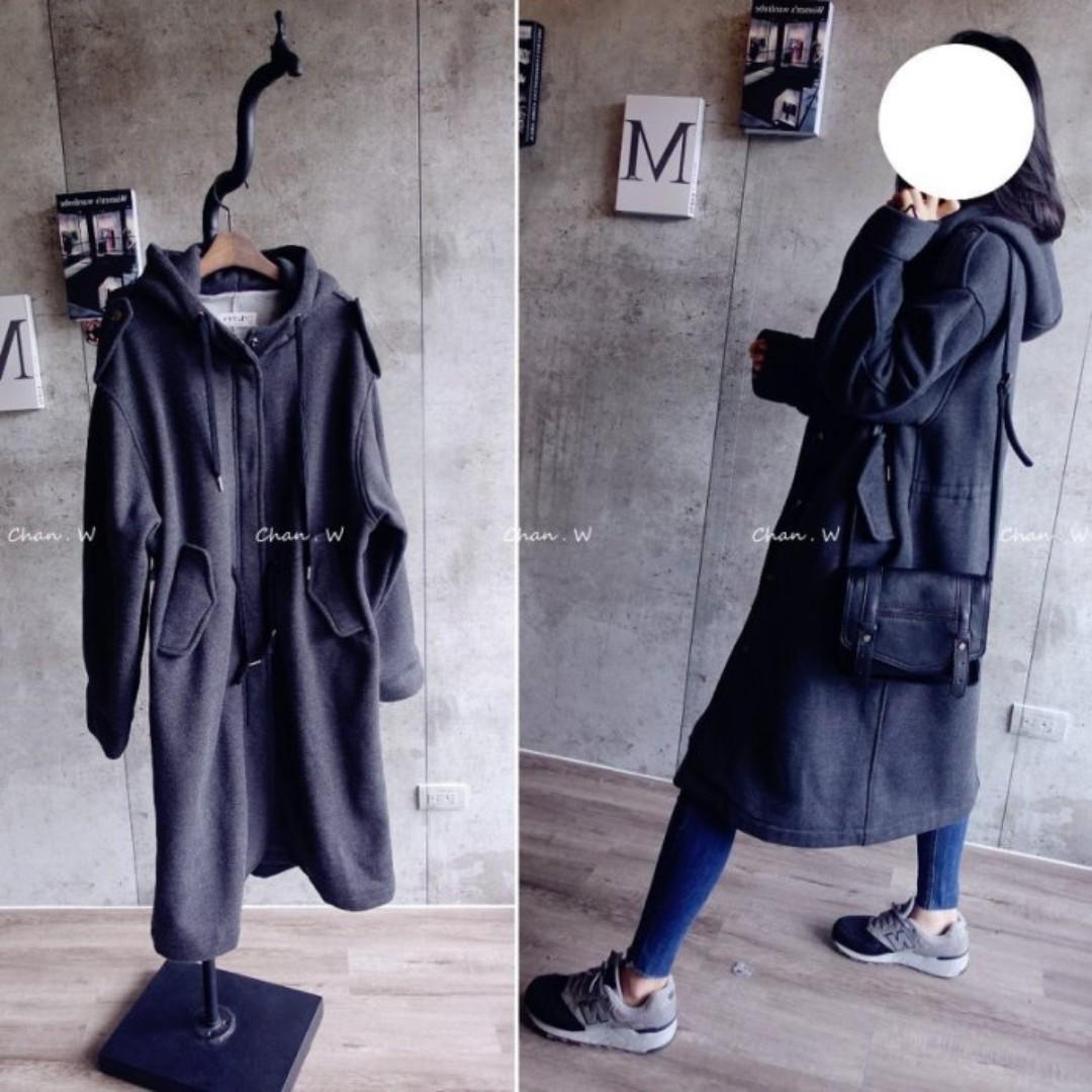 chan  韓 超好看特殊款~軍外版型長版厚磅棉外