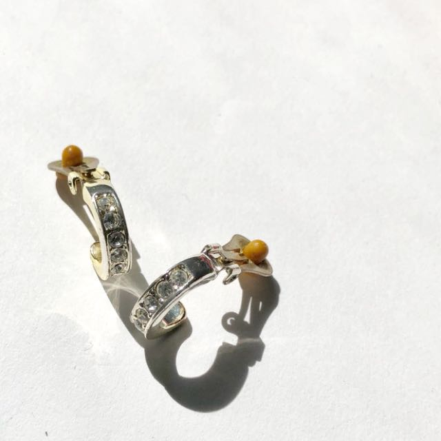 Clip on EARRINGS with cubic zirconia