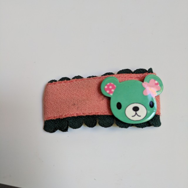 Cute Japanese Bear Hair Clip with Removable fabric cover