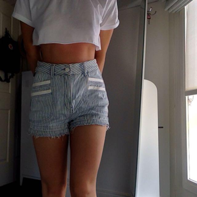 denim stripe shorts