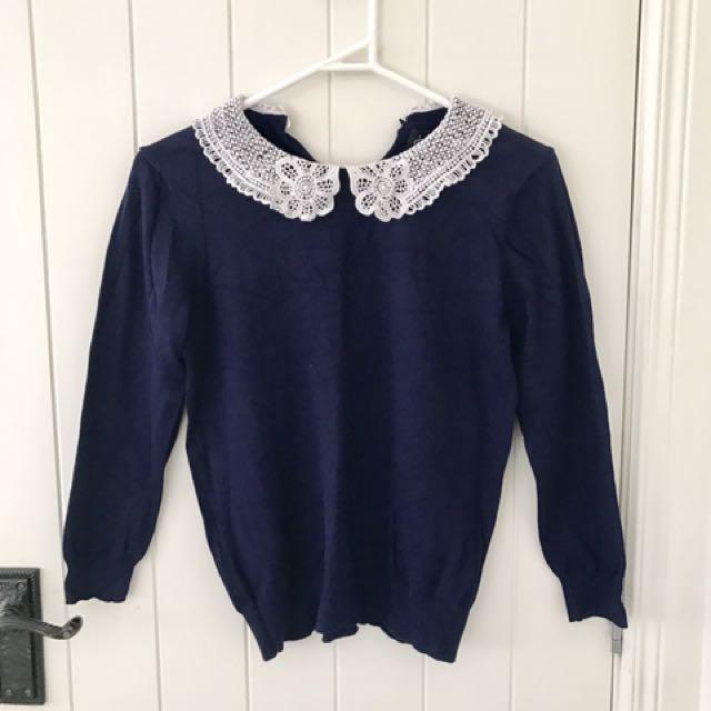 Dotti peter pan crochet collar knit