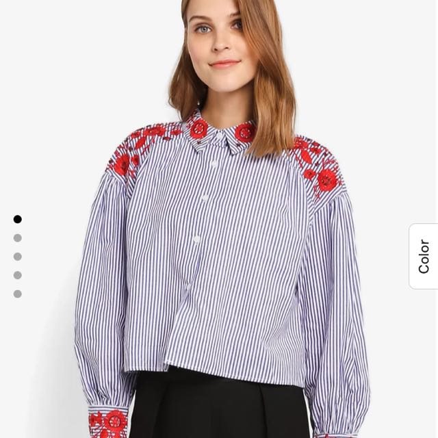 Embroidered Shirt blue stripe