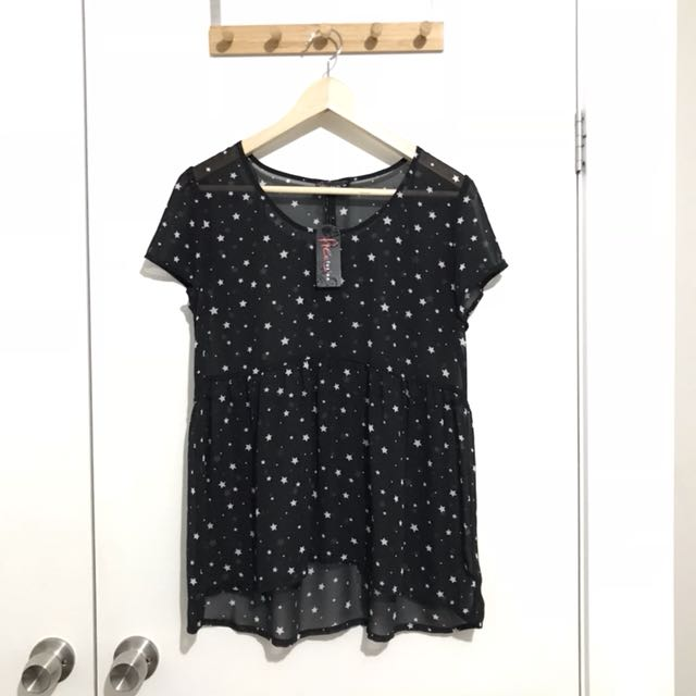 Free Fusion Sheer Black with Stars Top