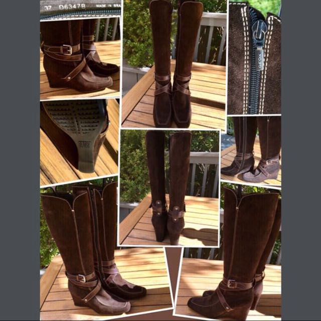 """GEOX"" LIKE NEW Dark brown suede STUNNING boots with wedge heel"