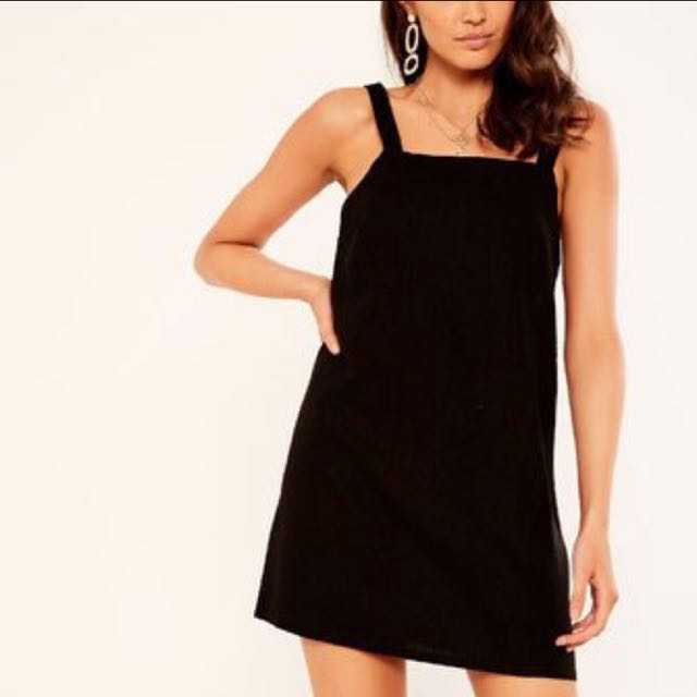 Glassons Linen Blend Pinafore Black Dress