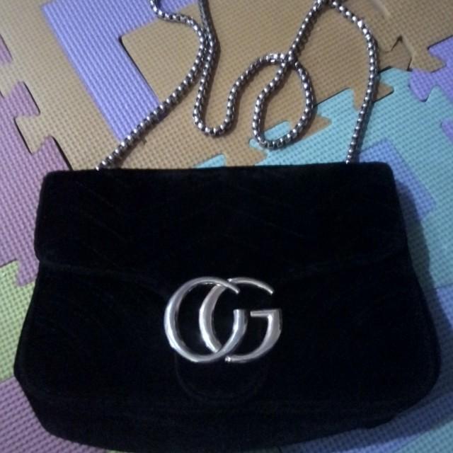 Gucci inspired velvet chain bag