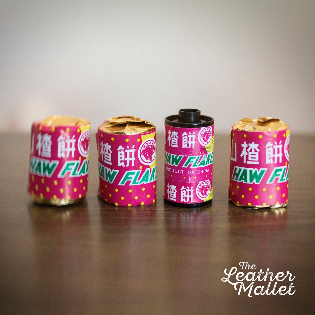 Haw Flakes Film Fridge Magnets. Made from authentic Haw Flakes sweet wrappers & 35mm analog films.