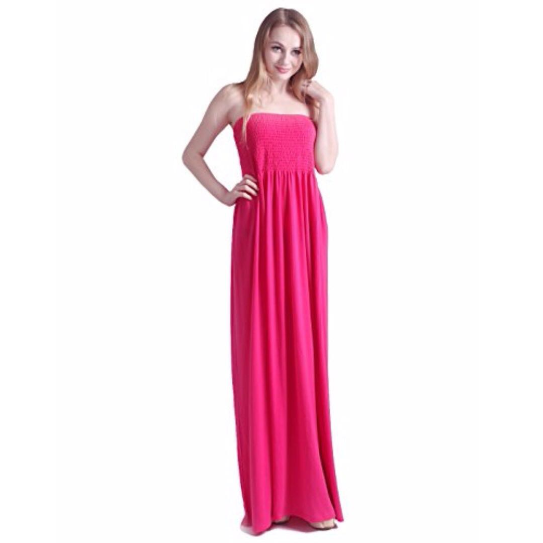 53a5af386a HDE Women's Strapless Maxi Dress Plus Size Tube Top Long Skirt ...