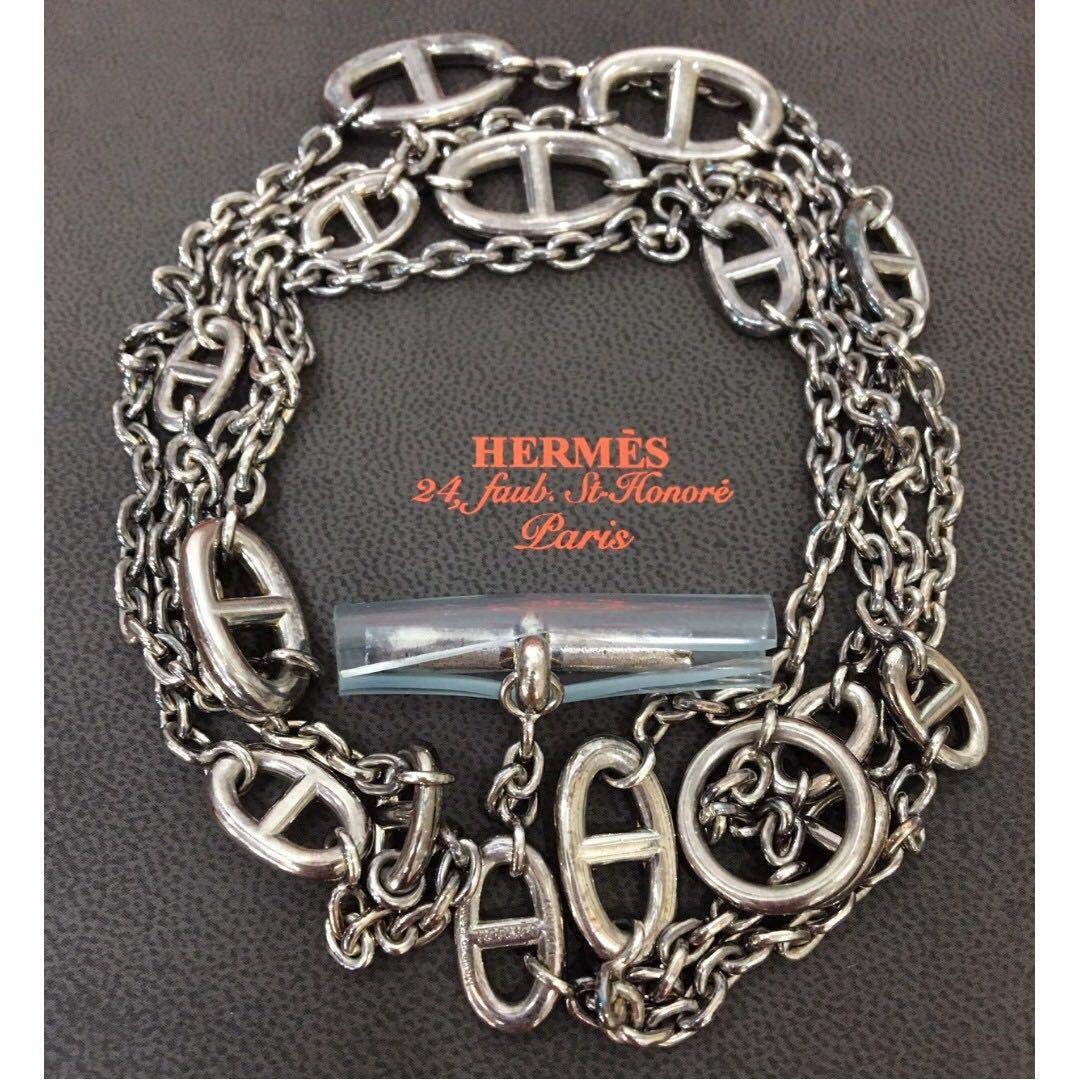 Hermes愛馬仕 Farandole系列 H LOGO 925純銀T釦長項鍊