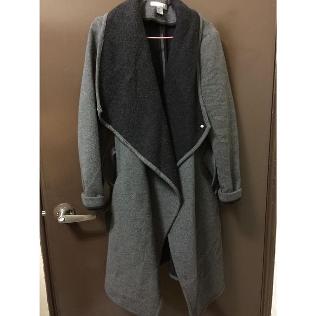 超美的H&M綁帶羊毛大衣 綁帶大衣