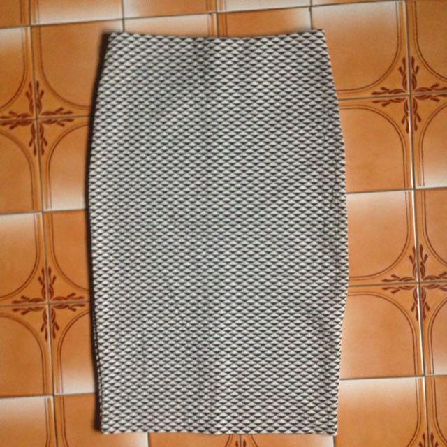 H&M 黑白幾何圖形 花苞裙