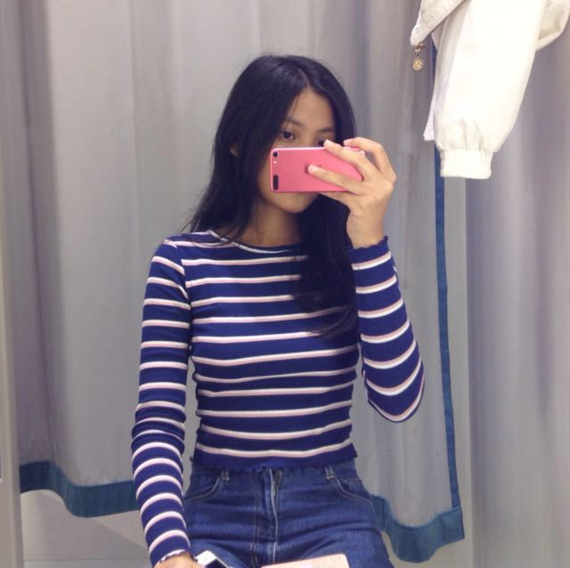 H&M long sleeve ribbed top (blue)