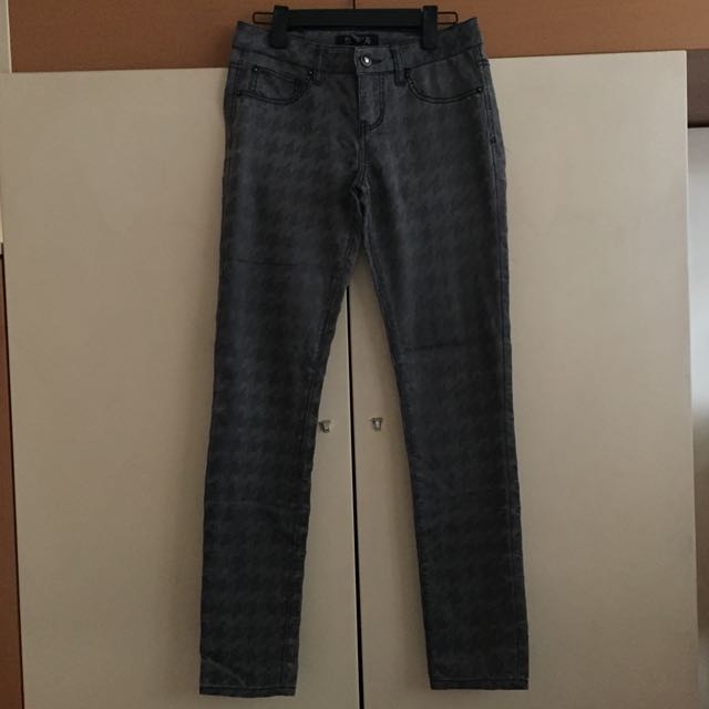 Houndstooth Print Jeans