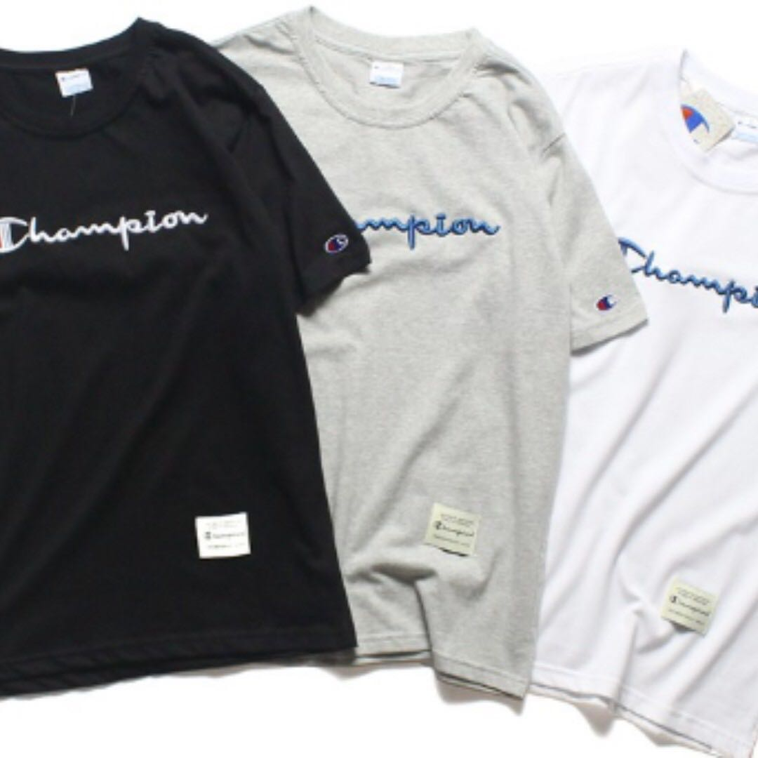 8d7367ba INSTOCK]Authentic Embroidered Champion Tee (Black/White), Men's ...