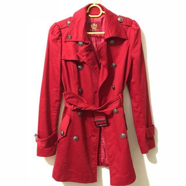 knightsbridge 正紅色 風衣外套