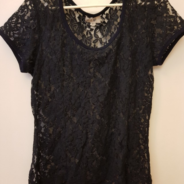 Laced top (navy blue)