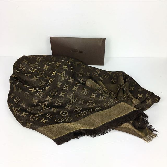 Louis Vuitton Shine Shawl in Brown & Gold