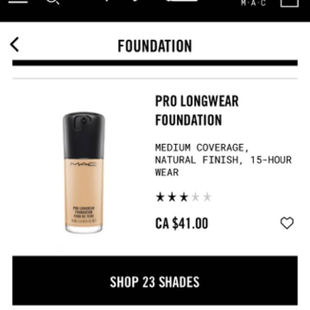 MAC pro longwear foundation #NC20