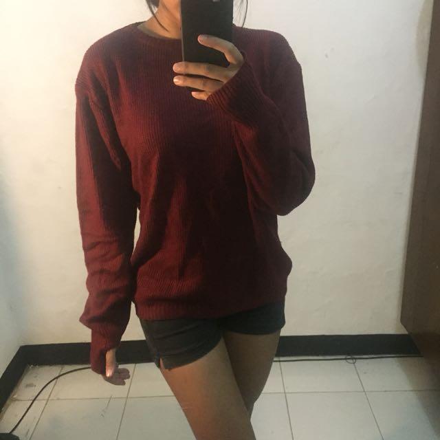 Maroon knitwear sweater oversized