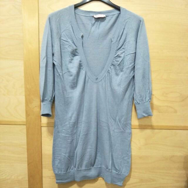 ♦MAX&Co.藍色七分泡袖長版針織上衣-M