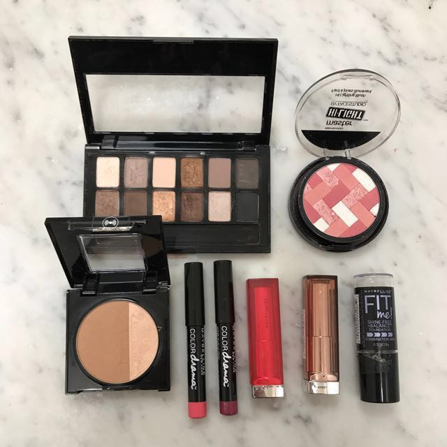 MAYBELLINE New York bundle-fit me foundation eyeshadow matte lipstick master sculpt colour drama highlight