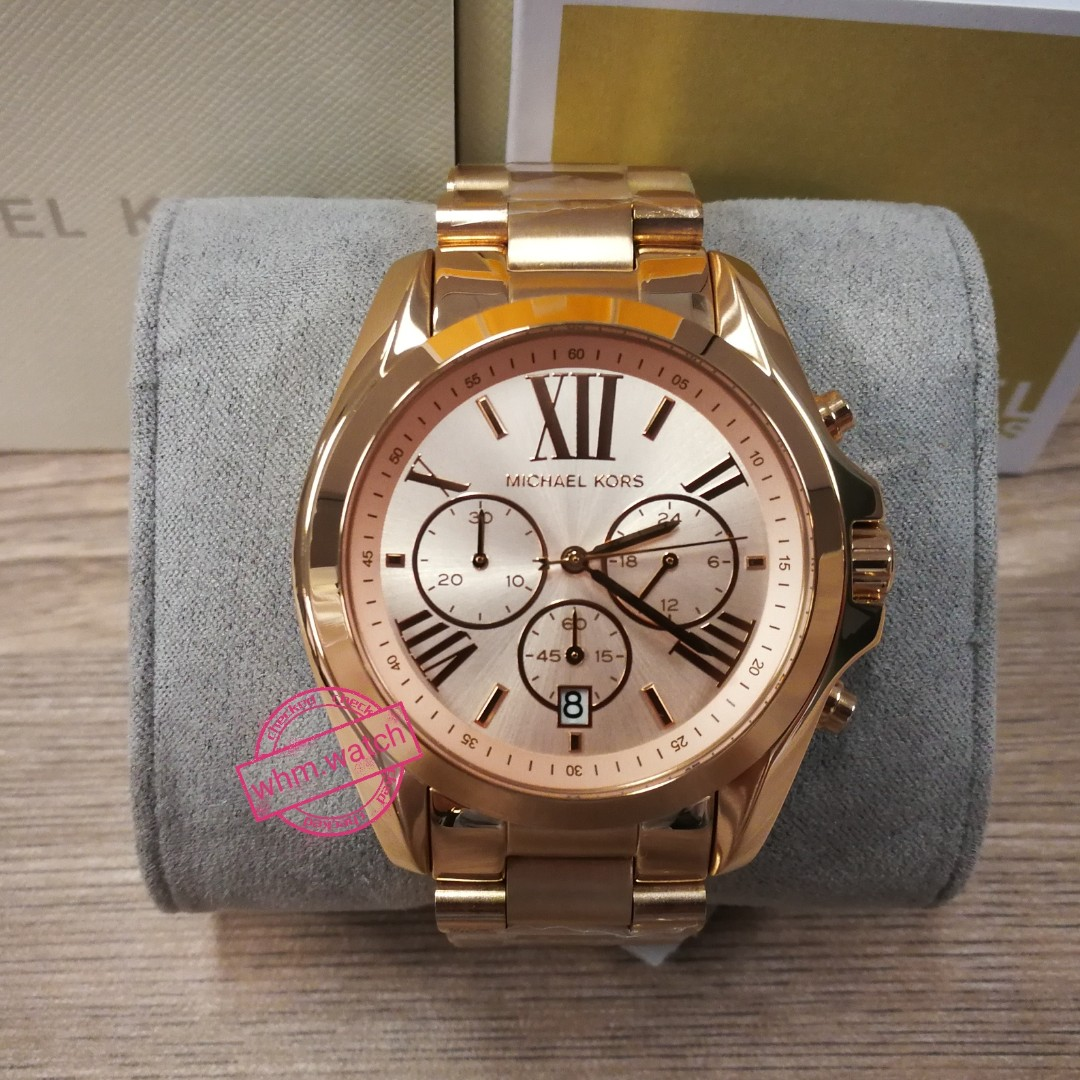 0fb03ca7220f MICHAEL KORS Bradshaw Oversize Chronograph Rose Gold-tone Ladies Watch  MK5503