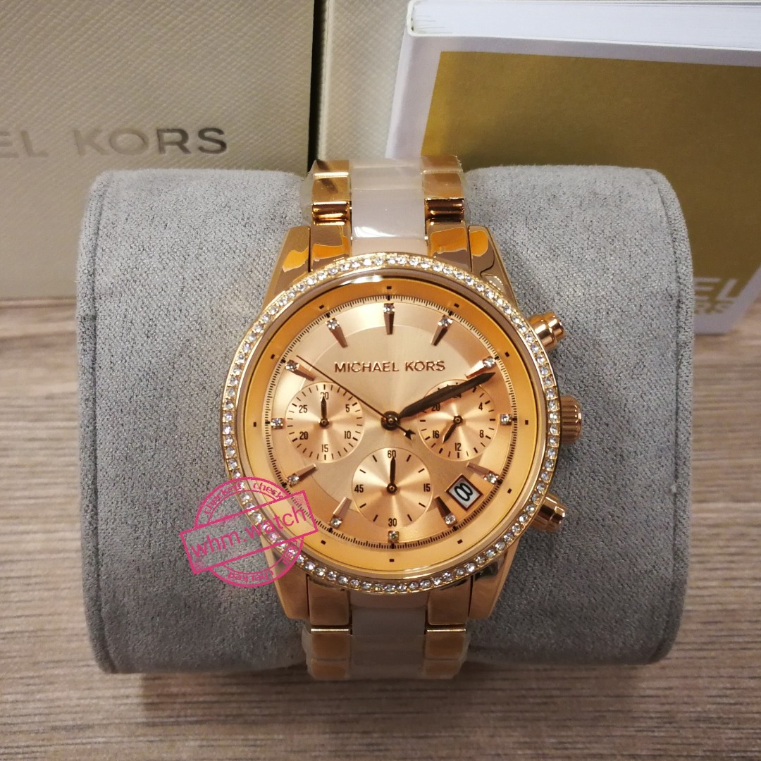 6f04ed2caf9 MICHAEL KORS Ritz Quartz Chronograph Rose Dial Rose Gold-tone Pink ...