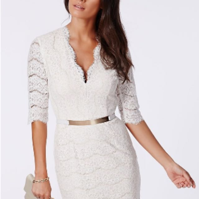 MISGUIDED Sophisticated White Lace Plunge