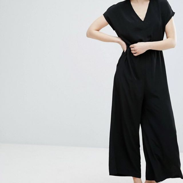 Monki Button Up Wide Leg Relaxed Culotte Palazzo Jumpsuit Overall Playsuit Romper