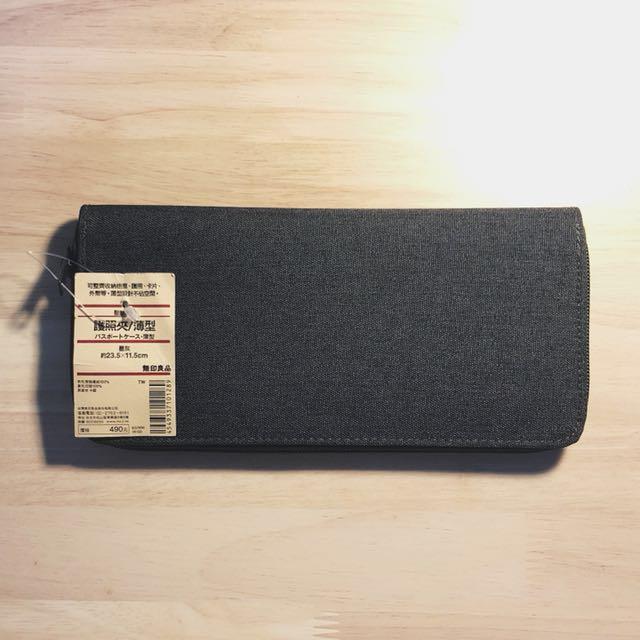 無印MUJI 聚酯纖維護照夾/薄型/墨灰 全新