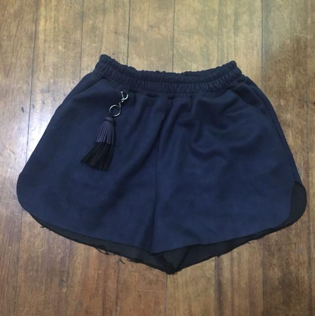Navy Blue tassled shorts