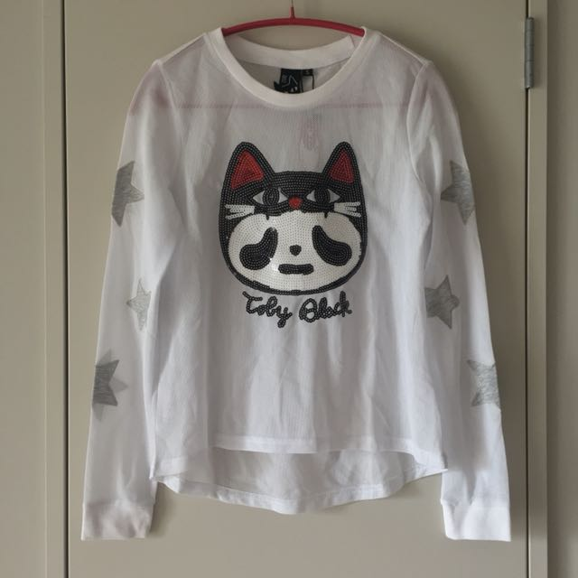 [NEW] A02 White Mesh Long-sleeve Top With Sequin Cat And Stars Size S